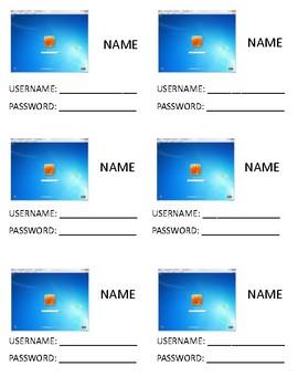 Student Login & Password Cards