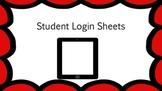 Student Login Sheets