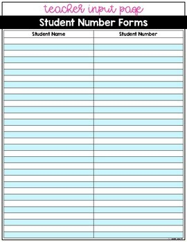 Student Lunch Number   Student ID Number Forms