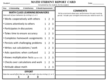 Student MATH Report Card - A Mathematician's Self Reflection