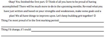 Student Marking Period Reflection