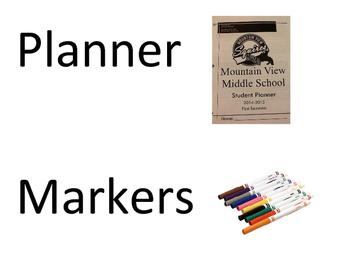 Student Materials Bulletin Board signs
