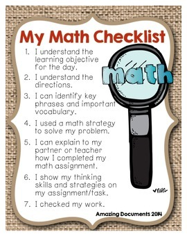 Student Math Checklist (FREE)