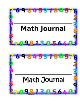 Student Math Journal Label