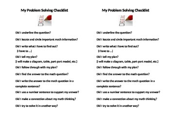 Student Math Problem Solving Checklist