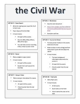 Student Menu: Causes of the Civil War