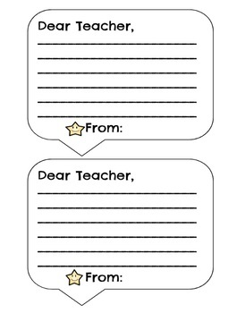 Student Message Cards to Teacher