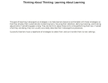 Student Metacognitive Learning Chart