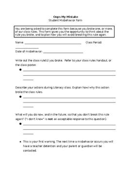 Student Misbehavior Form