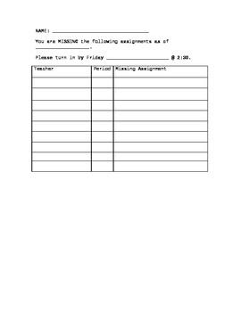 Student Missing Assignment Sheet for Older Kids