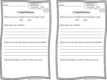Student Mistake Reflection Pages for Addition & Subtraction
