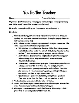 Student Mock Teaching Lesson Plan Teach A Talent Or Skill