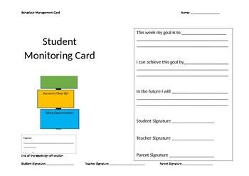 Student Monitoring Card