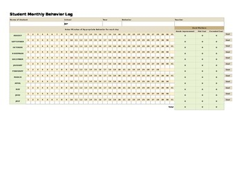 Student Monthly Behavior Tracking Log