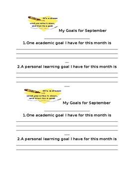 Student Monthly Goals