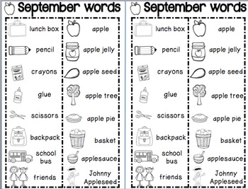 Student Monthly Picture Dictionary