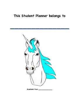 Student Monthly Planner UNICORN THEME