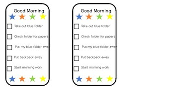 Student Morning Checklist Editable
