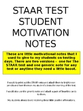 Student Motivation notes, test motivation notes, STAAR Test motivation Editable