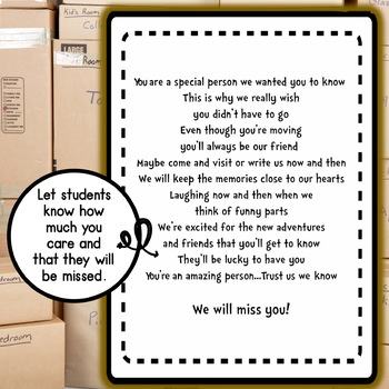 Student Moving Goodbye Book FREEBIE