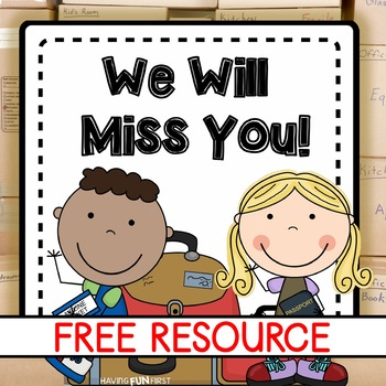 student moving goodbye book freebie by having fun first tpt. Black Bedroom Furniture Sets. Home Design Ideas