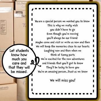 Student Moving Goodbye Book FREEBIE