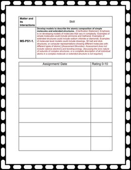 Student NGSS Checklist and Evidence Binder: Middle School Physical Science