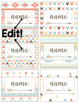 Student Name Cards - EDITABLE {Aztec / Tribal Theme}