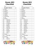 Student Name Checklist - Editable