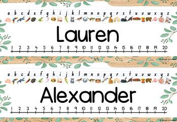 Student Name Desk Plates Australian Alphabet Botanical watercolour