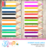 Student Name Labels - Editable Character Labels - Type Names