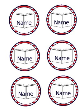 Student Name Labels Nautical Themed Red White and Blue