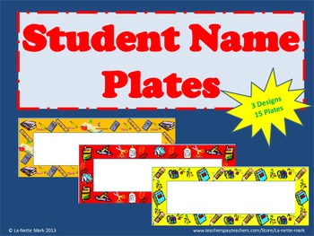 Student Name Plates