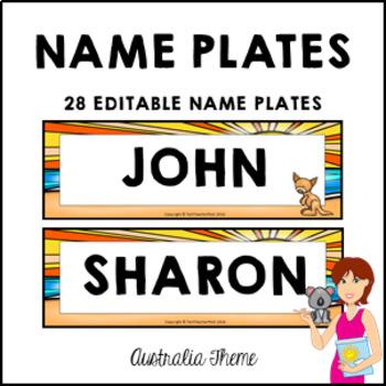 AUSTRALIA Student Name Plates Fully Editable