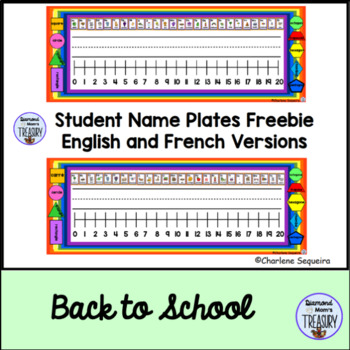 Student Name Plates Freebie English and French Versions