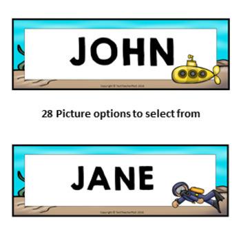 OCEAN Student Name Plates Fully Editable