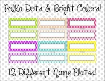 Student Name Plates - Polka Dots, Classroom Decor, Simple, Bright Colors!