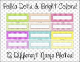 Student Name Plates - Polka Dots, Classroom Decor, Simple,