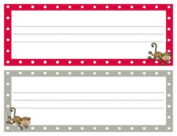 Student Name Plates / Tags Monkey Theme