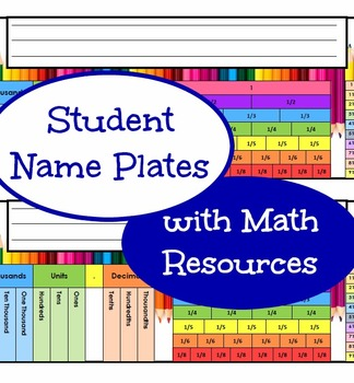 Student Name Plates with Math Resources