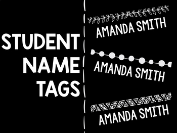 Student Name Tag: Black with Pattern