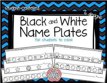 Student Name Plates ~Black & White