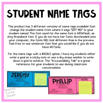 Student Name Tags *EDITABLE*