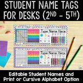 EDITABLE Student Name Tags For Desks 3rd - 5th Grade