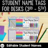 EDITABLE Student Name Tags For Desks 3rd - 5th Grade