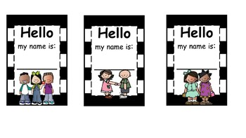 Student Name Tags (Melon Head Kids Set) Hello My Name Is...