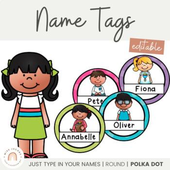 Student Name Labels {Round Polka Dot}