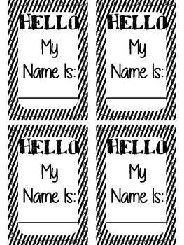 Student Name Tags for classroom (stripe Design)
