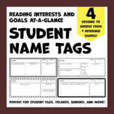 Student Name Tags with Reading Interests & Goals - 4 Desig