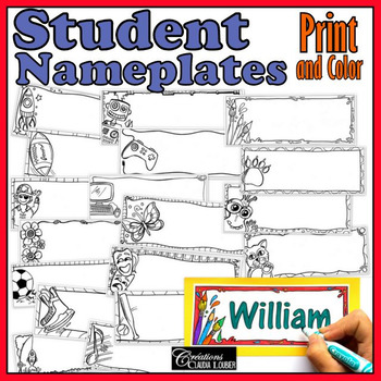 Student Nameplates - 18 labels, Print and Color